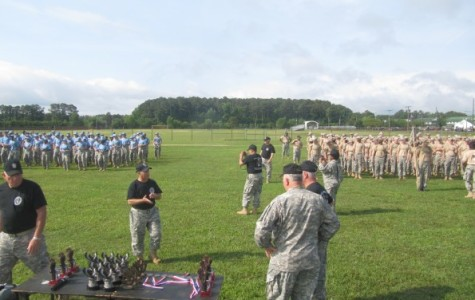 Alpha and Brave companies in formation waiting to receive awards at JCLC Eagle at Camp Pendelton.