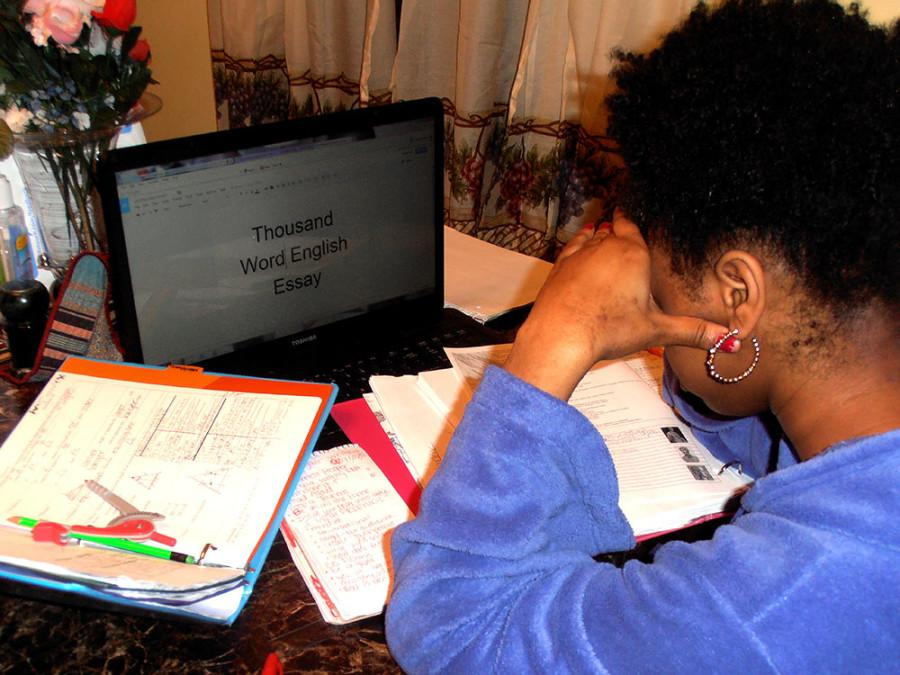 Student Angel Hendrix is working on all of her homework.