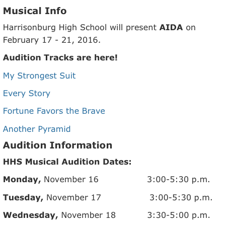 A screenshot of choir director Bethany Houff's website, showcasing the musical audition information.