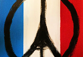 Artist re-creation of the original Peace for Paris drawing. Artwork courtesy of Hannah Cash.