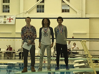 Johnson, Flemming and King pose after placing top three at the dive state meet.