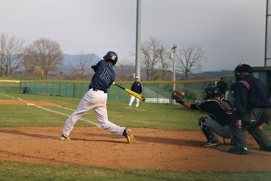 Junior Matt Meiser takes a hack at a fastball.