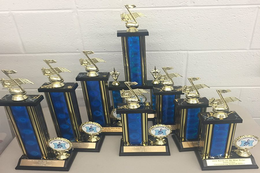 Trophies won by the band at Millbrook High School