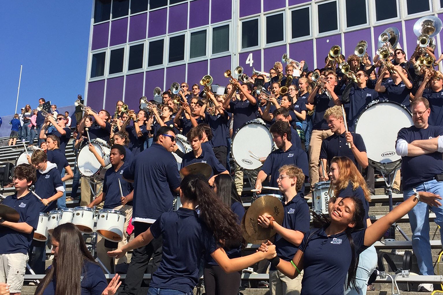 Marching band jams as Harrisonburg leads Broadway.