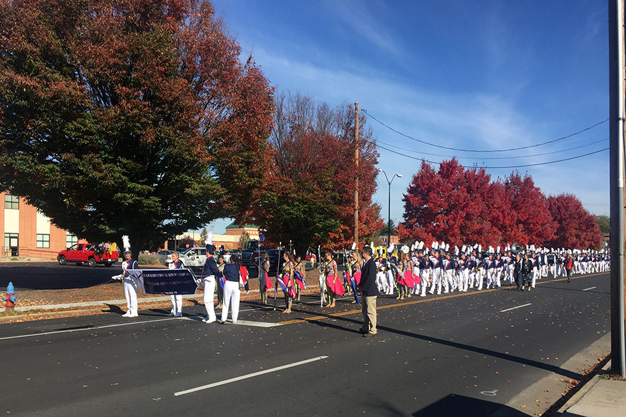 Marching band performs at the Veterans Day Parade.