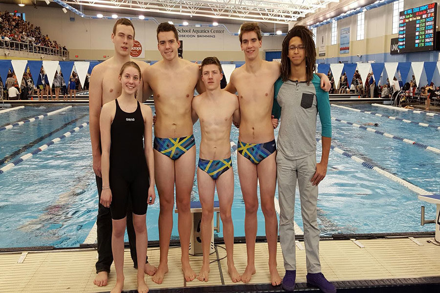 From right to left- Junior Urie Conis, freshman Andi fox, junior Christian Rodriguez, senior Andrew Rath, junior Kyle Brown and sophomore Jack Flemming pose after their state performance