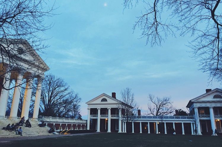 The lawn at University of Virginia.