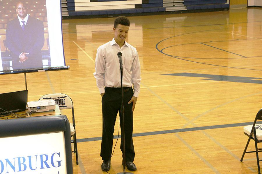 Freshman Austin White shares a fond memory of Coach Hargrove during the open mic segment of the memorial.