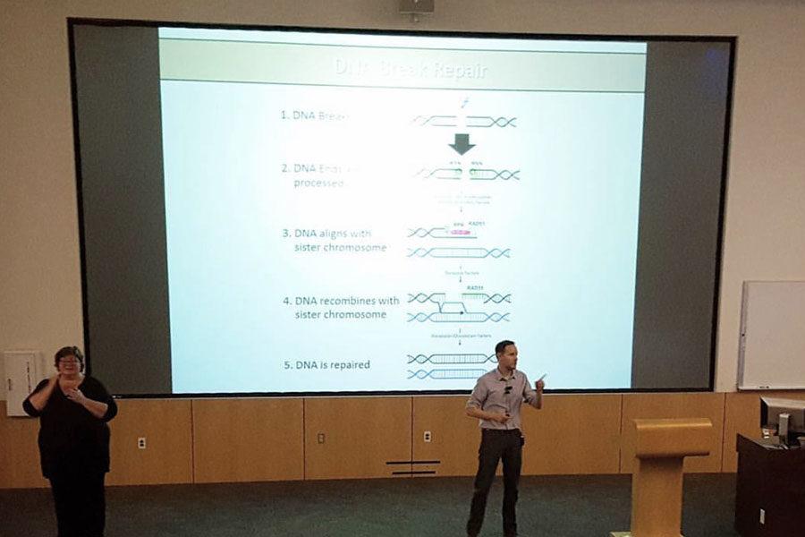 Dr. Derek Jantz presents at the 2017 biotechnology symposium