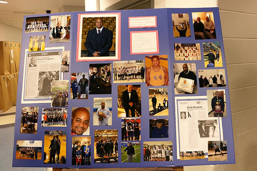 Put together by his players, a poster board stands outside of the service illustrating Hargroves dedication to the sport of basketball throughout his life.