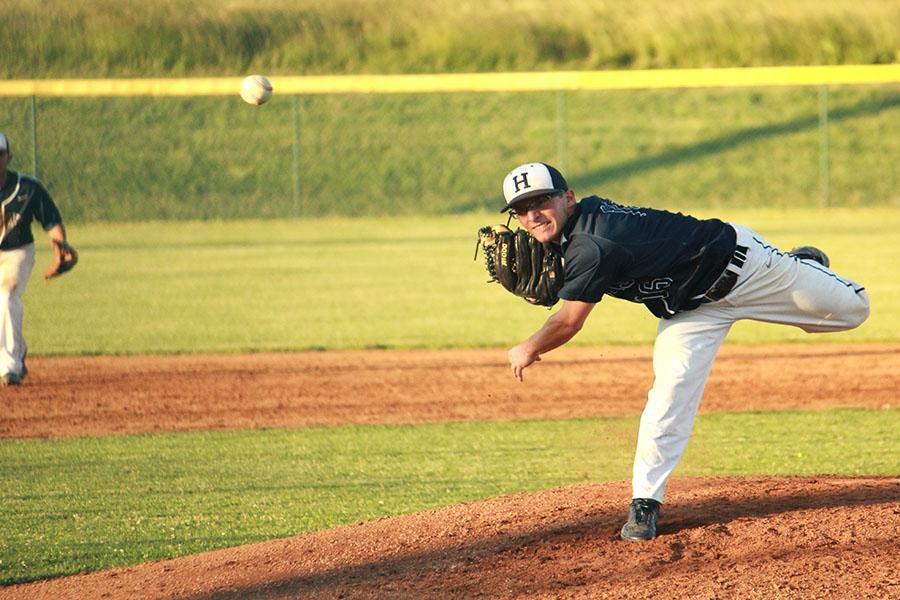 Sophomore Owen Stewart starts as pitcher.