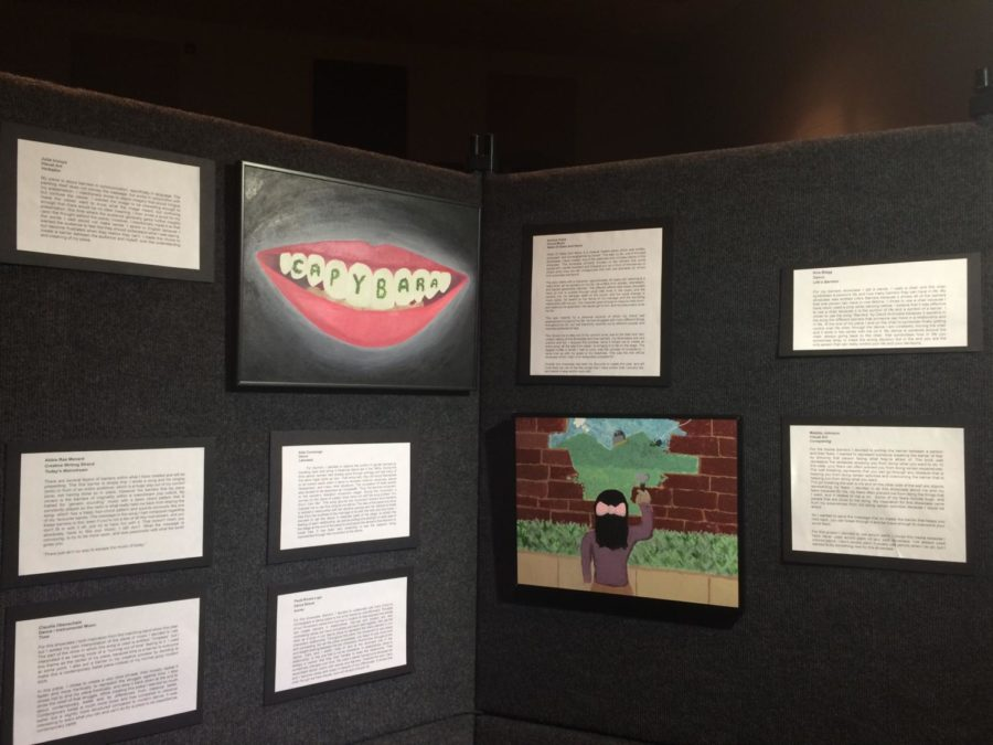 Verbatim (left) by Julia Inouye and Facing Fears (right) by Maddie Johnson.