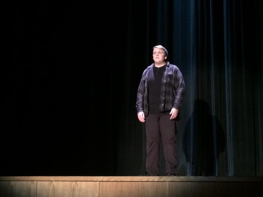 Junior Kyle Showalter performs his monologue