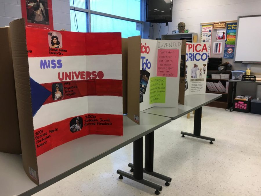 A Spanish classroom shows different features of Puerto Rico as part of the world language block party