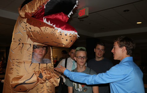 Homecoming outfits were taken to a whole new level by Aerious Kubien, who decided to come in a dinosaur suit.