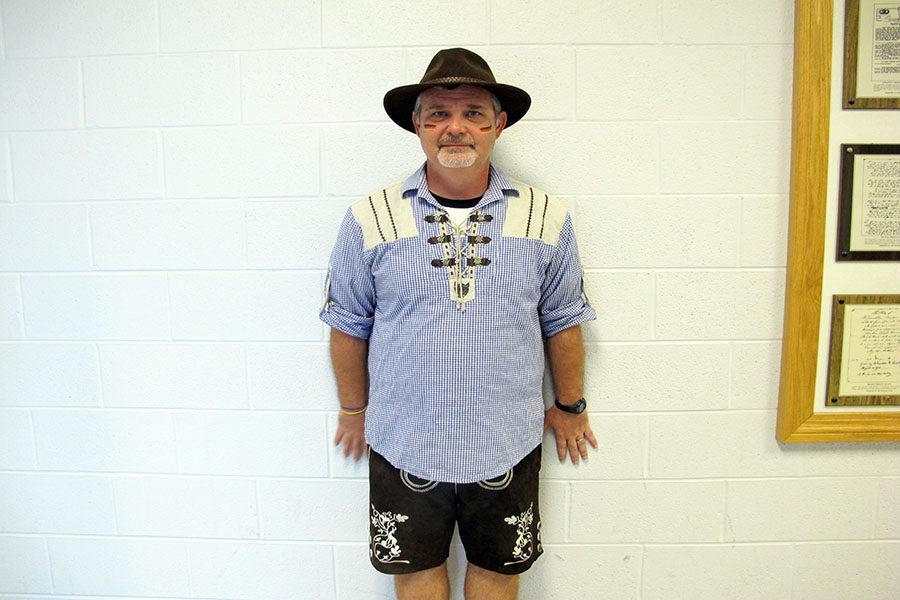 History+teacher+Marc+Healy+wears+his+German+outfit+for+International+Day.+