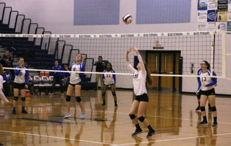 Sophomore Whitney Purcell sets the ball to teammate.