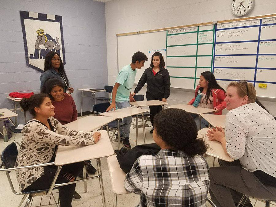 Several+students+in+ninth+grade+academy+meet+to+set+plans+and+goals+for+what+they+want+to+do+to+help+Anicira%2C+a+non-profit+animal+shelter.