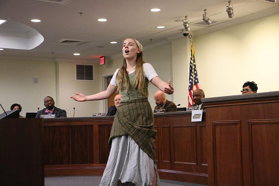 "Junior Kate Cummings performs ""In My Own Little Corner"" from the musical ""Cinderella."" Cummings, winner of this year's Shakespeare Competition, has starred in several school productions."
