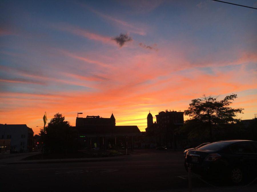 A sunset descends over downtown Harrisonburg.