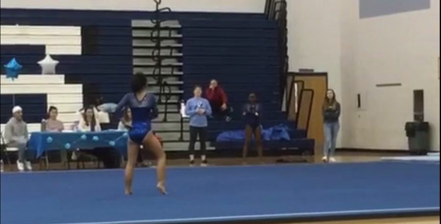 Arndt competes during her floor routine.