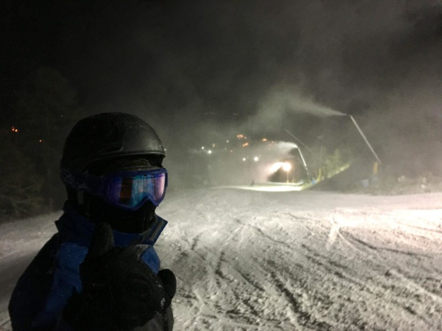 Freshman Conor Wells prepares to go down the slopes on paradise at Massanutten Resort.