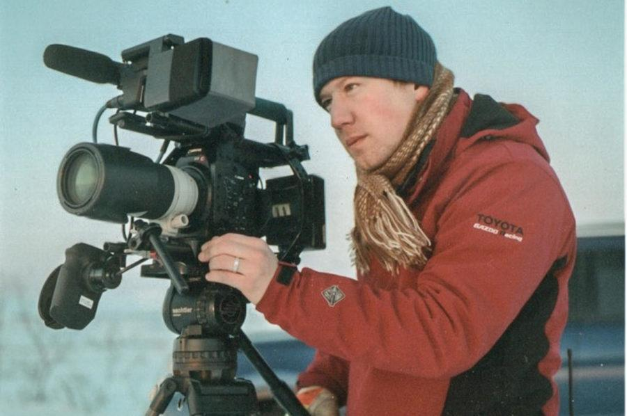 Whitten works on filming for a documentary in Nome, AK.