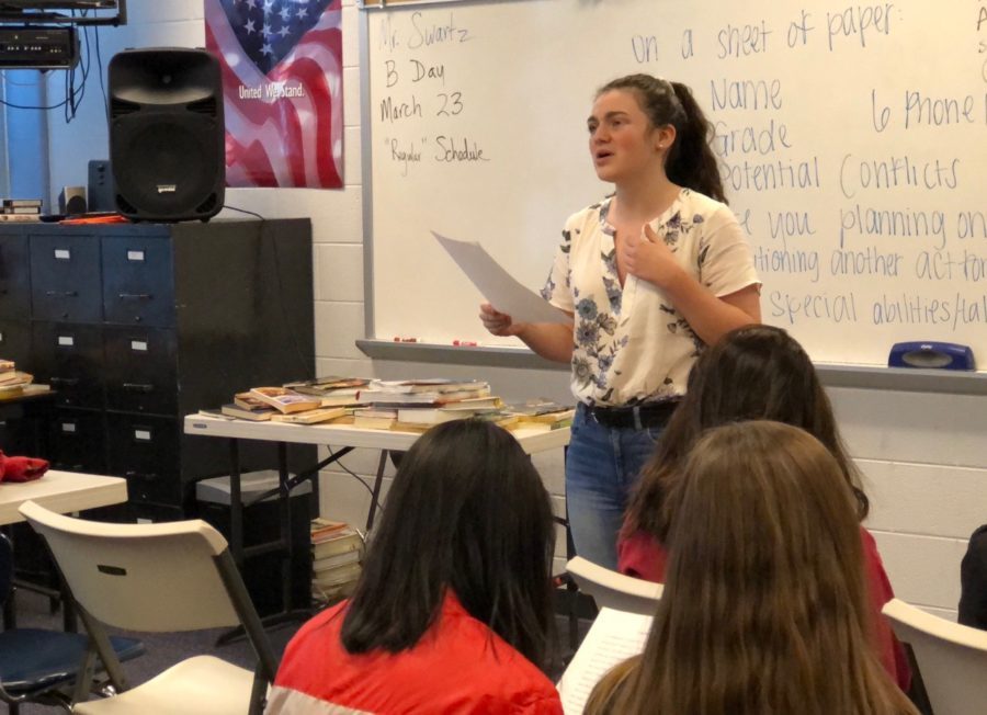 Sophomore Grace Miller reads a monologue at auditions for the Spring Arts senior-directed plays.