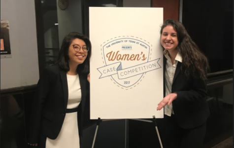 Faith Runnells (right) poses in front of the sign presenting the National Women's Case Competition in Austin, Texas with the University of Texas's McCombs School of Business.
