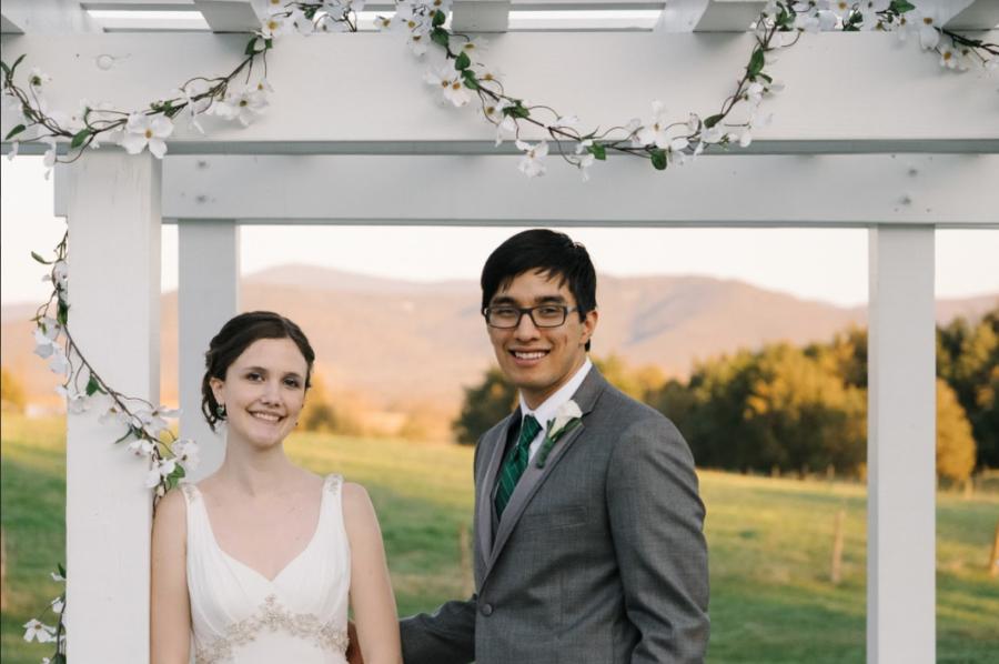 Alex and Emily Rendon pose during their wedding photoshoot.