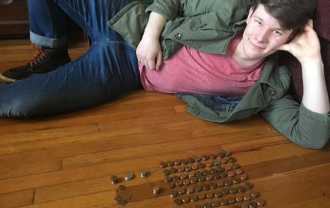 Vogel lays beside the change he counted out to supplement his coffee habit.