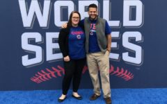 Flueckiger and JMU grad Ryan Campbell pose outside of the Cubs World Series gala, planned by Flueckiger and her company.