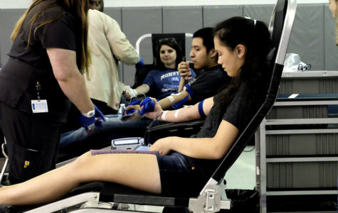 Students donate blood at semi-annual blood drive