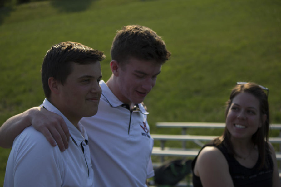 Seniors+Theodore+Yoder+and+Michael+Sy+are+recognized+for+their+hard+work+this+season+on+the+HHS+Tennis+team.