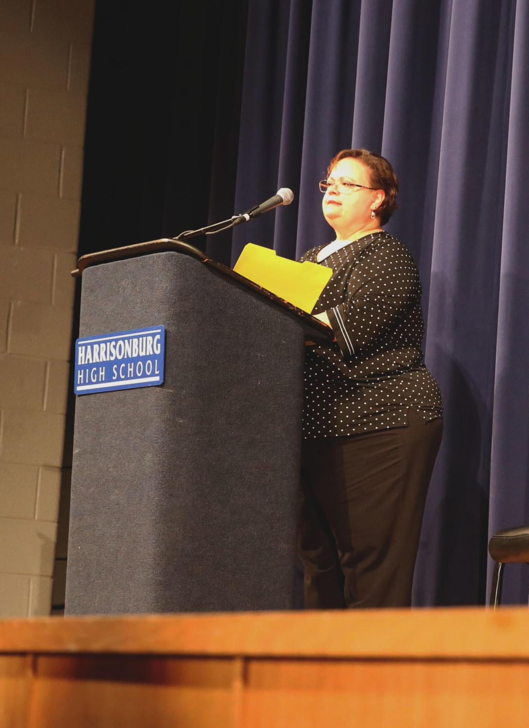 Principal+Cynthia+Prieto+speaks+prior+to+the+beginning+of+the+Excellence+Awards+ceremony.+
