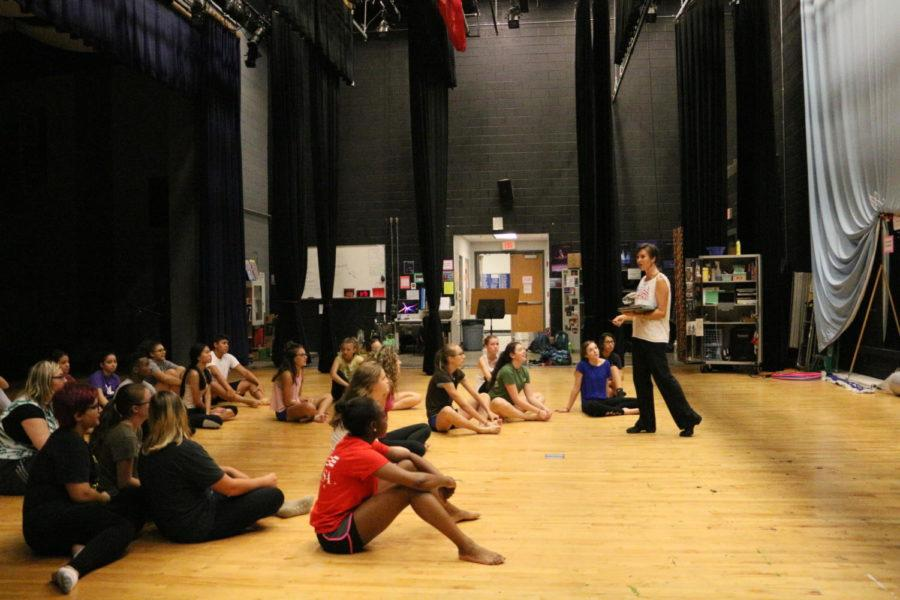 Dance teacher Amber Corriston teaching her Dance 2 class.