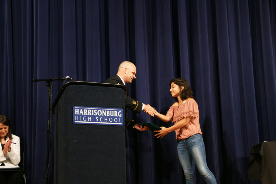 Senior Shenah Kababchy is recognized by SSG Michael Hebron with the National Guard, as she will receive over $200,000 worth of tuition aid for joining their program. Kababchy will join the National Guard while attending Old Dominion University in the fall.