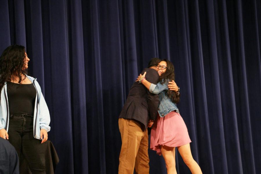 Senior Kellyn Rivera accepts a Latino Scholars Initiative Scholarship. Rivera will attend Virginia Tech in the fall.