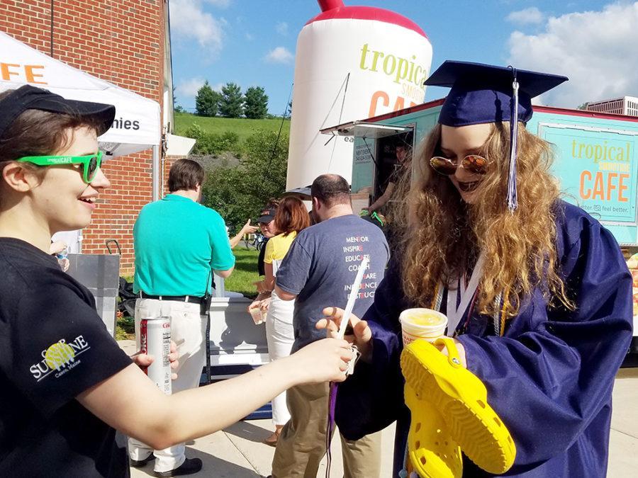 Senior Jane Wyatt receives her smoothie.