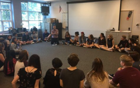 Students interested in auditioning for the one act sit in a circle during an after school meeting. At the meeting, new director Ken Gibson announced that the theme plot would follow  the story of Buddha.