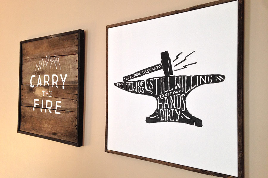 """Cosners art hangs around his house. """"I like to work with my hands; I like to be creative and make things that I can use. Ive made a closet... our familys dining room table, a coffee table in the living room and then some art around our house,"""" Cosner said."""