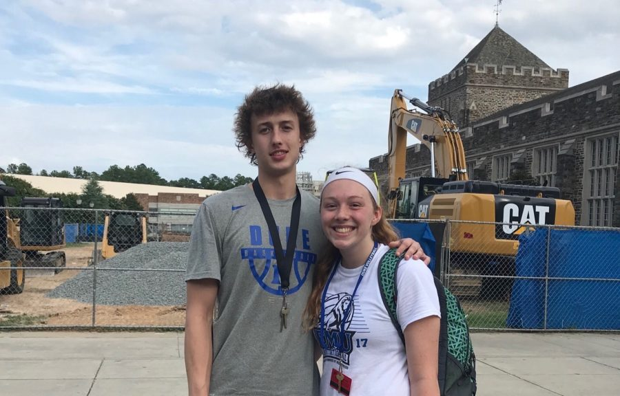 Bolyard+meets+sophomore+Alex+O%27Connell%2C+a+guard+from+the+Duke+basketball+team.+Bolyard+spent+three+days+on+Duke%27s+campus+for+a+volleyball+camp+and+ended+up+meeting+O%27Connell.+