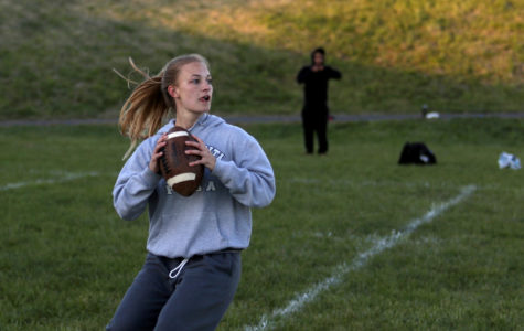 Senior Mikaela O'Fallon looks up the field to make a complete pass.