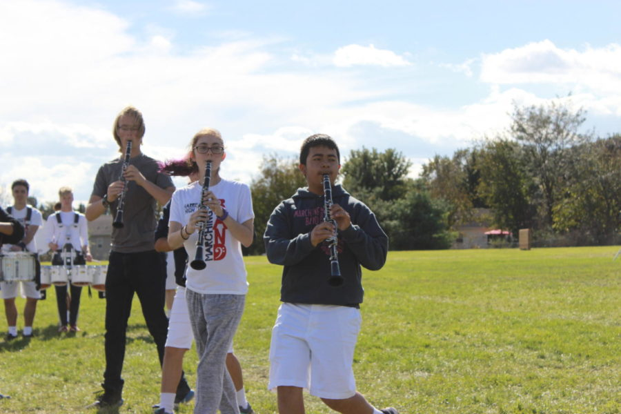 Members of the Clarinet section practice the second movement of their show.