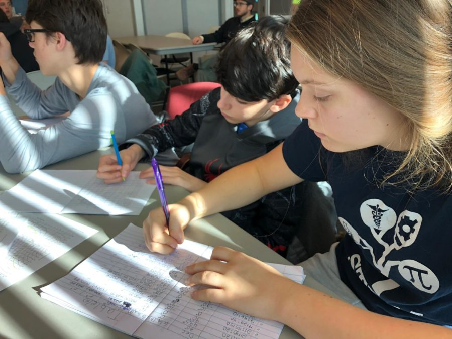Sophomores Evangelina Velker and Alexander Macauley takes notes and compare their information observed through the radio telescopes with other groups.