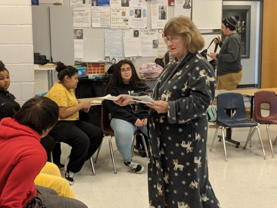 Mrs. Foster teaching ASL 2 in her pjs and robe.