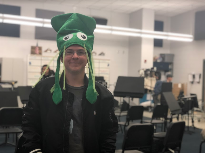 Freshman Robert Eshbaugh shows off his school spirit during crazy hat day with a light-up squid hat.