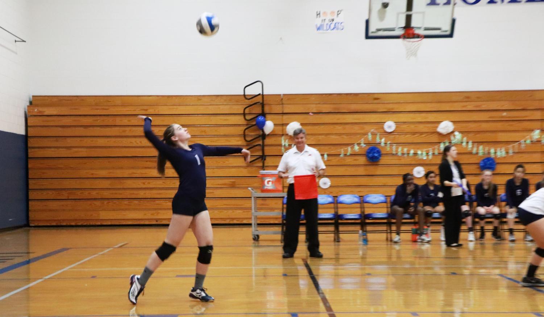 Senior+captain+Andrea+Osinkosky+serves+the+ball.+