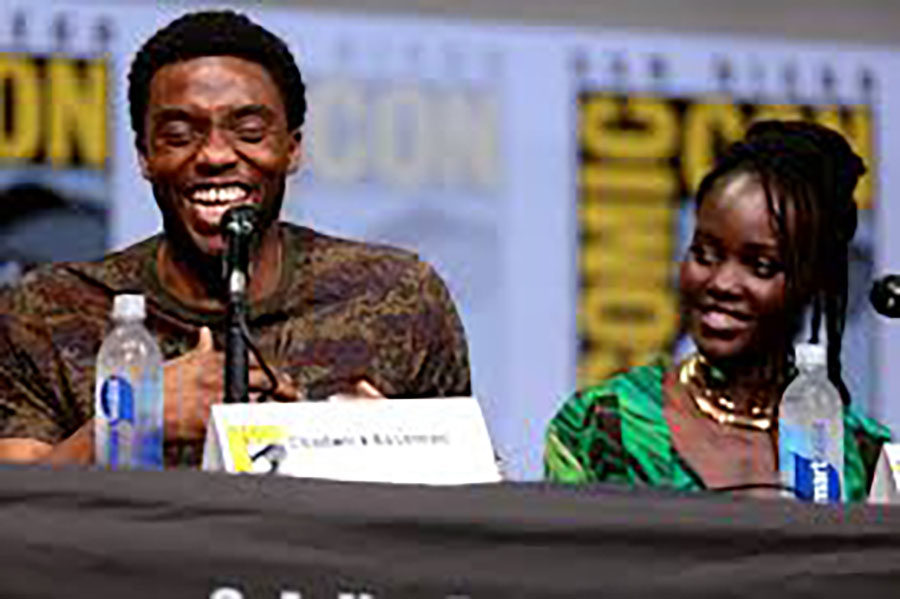 Chadwick+Boseman+and+Lupita+Nyong%27o%2C+two+members+of+the+cast+of+Black+Panther%2C+talk+at+a+press+conference.+Black+Panther%2C+an+internationally+acclaimed+movie%2C+released+in+February.+