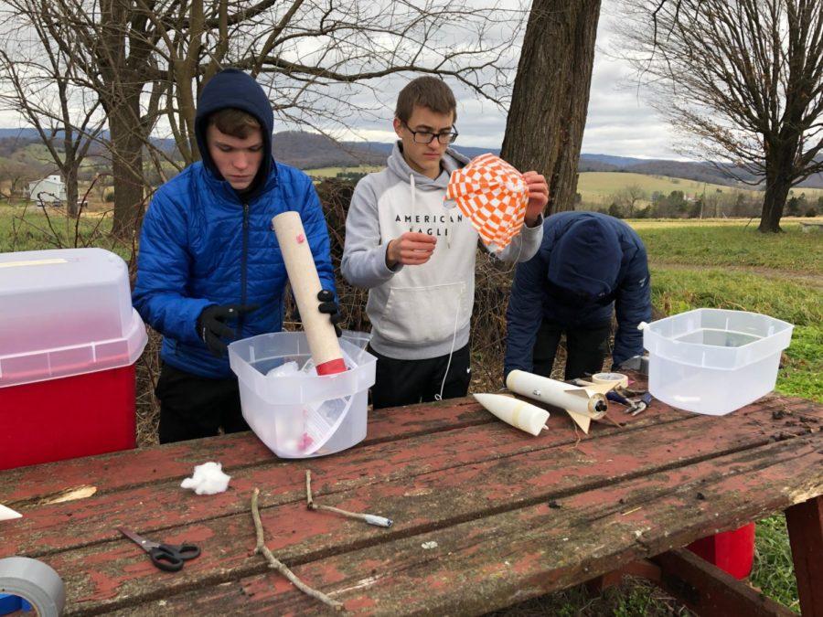 Sophomore Hayden Kirwan and his team work on their rocket.